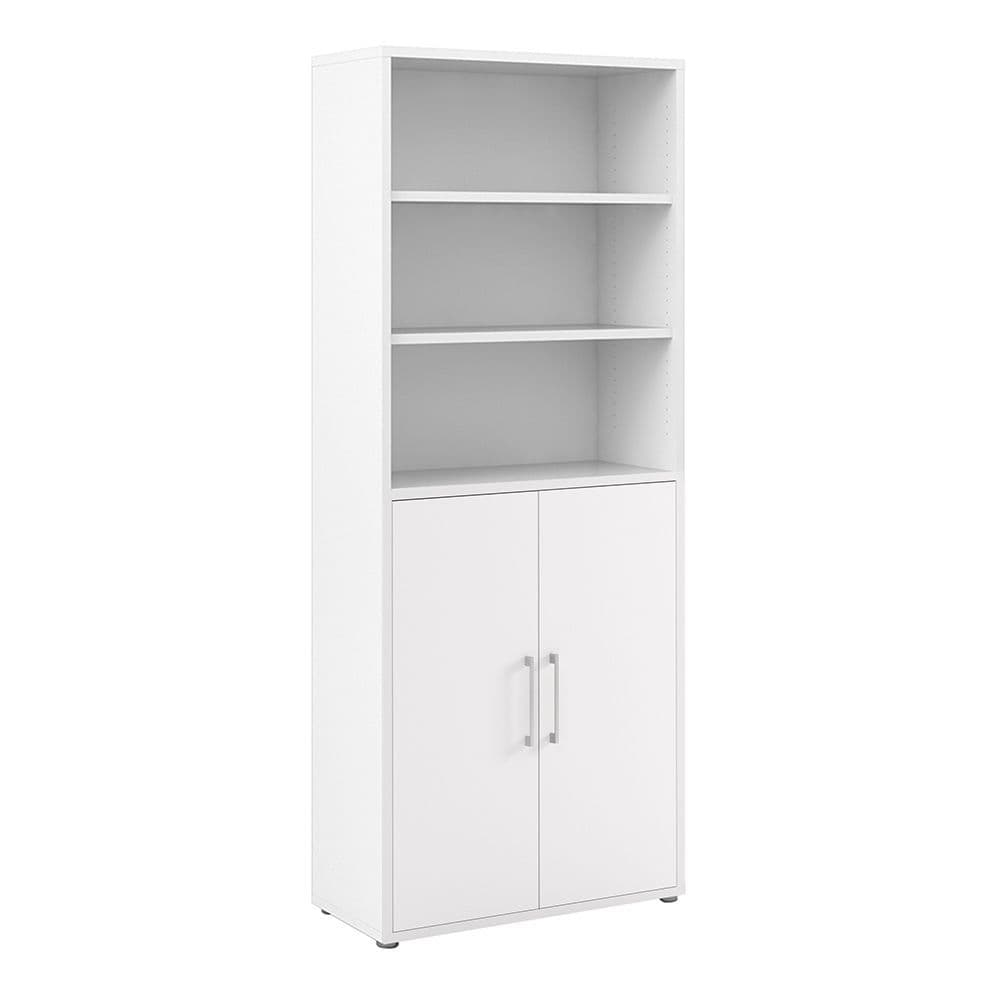 Business Pro Bookcase 5 Shelves with 2 Doors in White